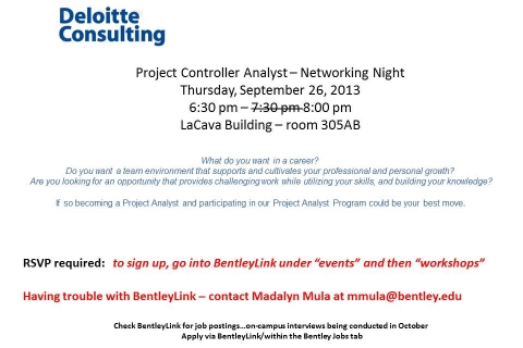 Deloitte Consulting – Project Controller Analyst – Open Information Session UPDATED