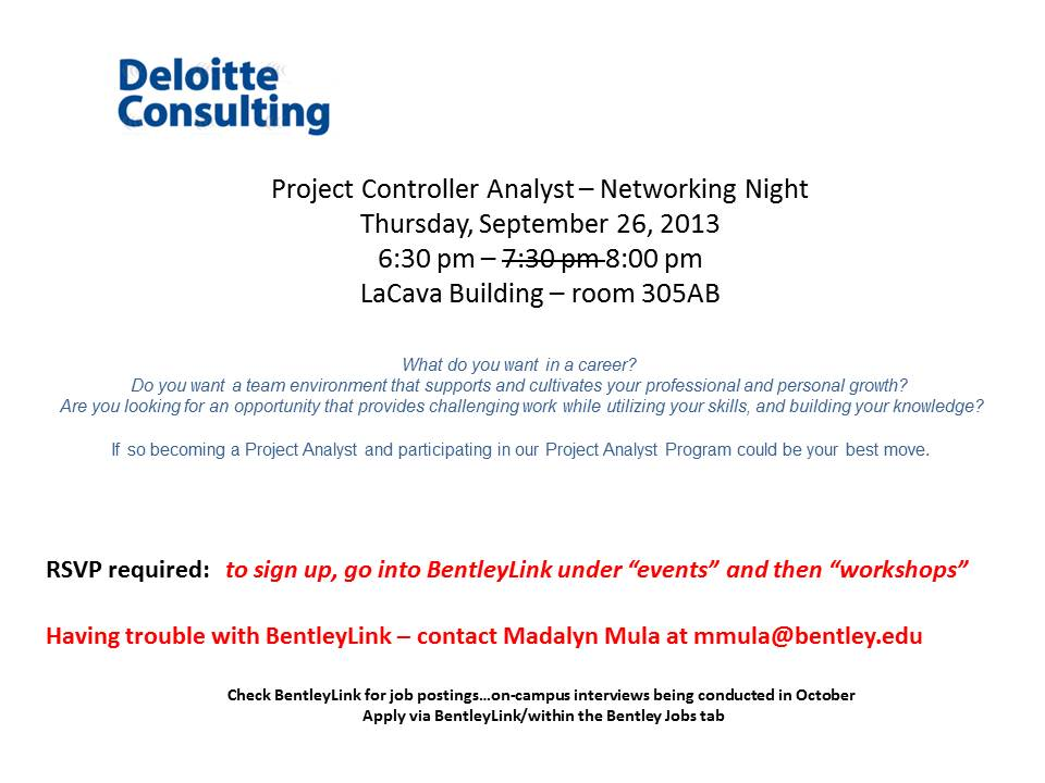 Deloitte Consulting - Project Controller Analyst – Open Information Session UPDATED