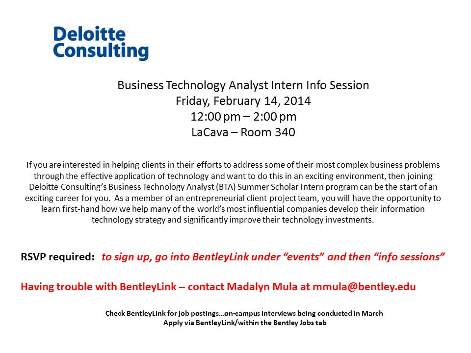Deloitte Consulting – Business Technology Analys Intern Info ...