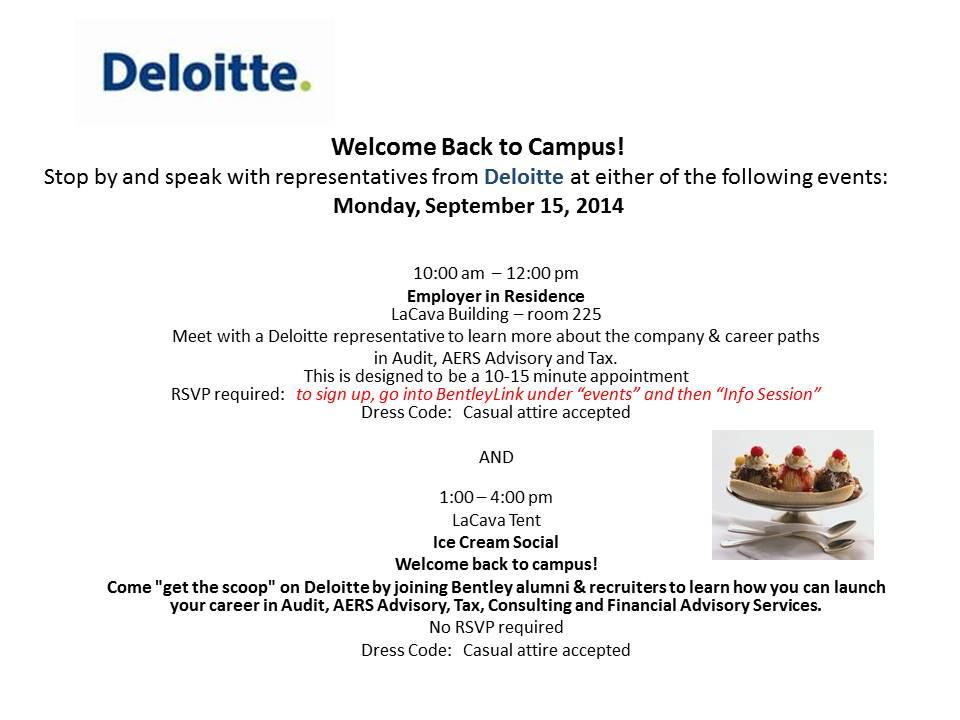 Deloitte Welcome Back To Campus Day Bentley Careeredge